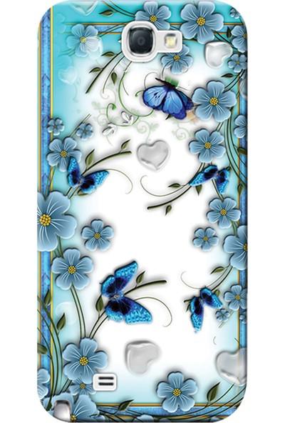 Kılıf Merkezi Samsung Galaxy Note 2 Kılıf GT-N7100 Silikon Baskılı Çiçek ve Kelebekler STK:547
