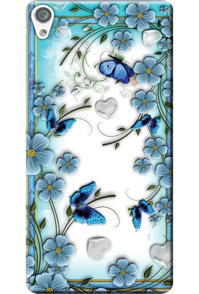 Kılıf Merkezi Sony Xperia XA1 Ultra Kılıf G3221 Silikon Baskılı Çiçek ve Kelebekler STK:547