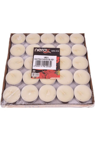 Nerox 50'Li Beyaz Tealight Mum