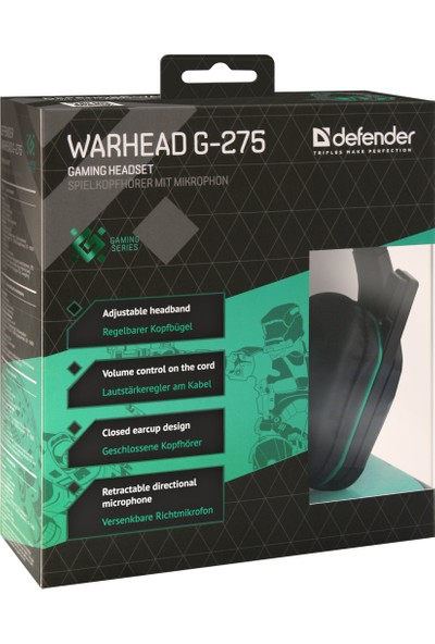 Defender Oyuncu Headset Warhead G275 Green Black (64122)
