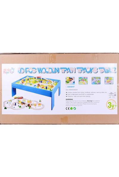 HiQ Toys Ahşap Masalı Tren Seti Yap Boz Lego 80 Parça