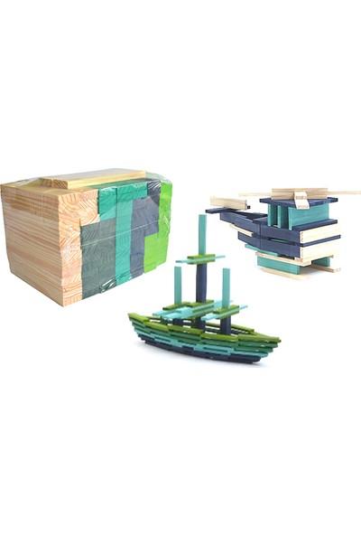HiQ Toys Ahşap Yapı Blokları 5 Renk 100 Parça