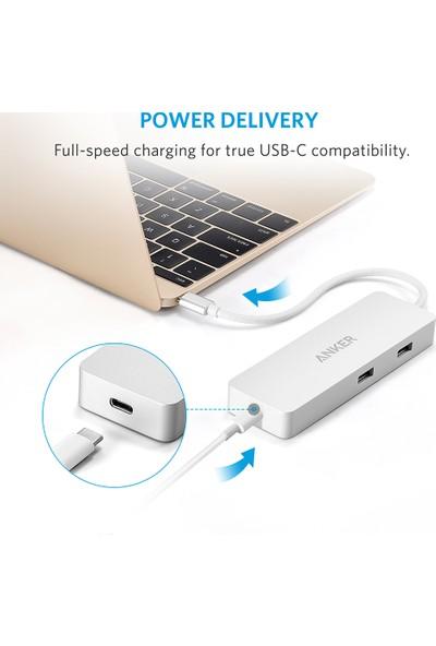 Anker 4-Port USB-C Taşınabilir HUB , Premium Power Delivery Şarj ve Gigabit Ethernet MacBook Pro 2016, Chromebook Pixel ve Diğer Cihazlar İle Uyumlu