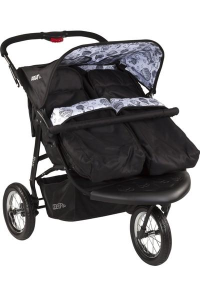 Kraft Wow İkiz Yan Yana Bebek Arabası - Siyah