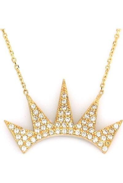 Kuyumcunuz Altın Taşlı Kral Tacı Kolye (14 Ayar)