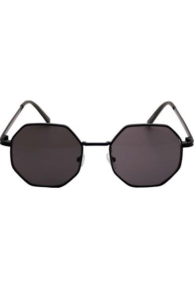 Modaroma Skzg10 Sekizgen Siyah Cam Unisex Güneş Gözlüğü