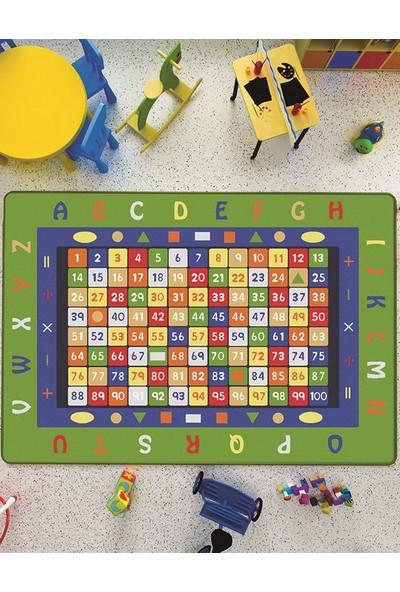 Confetti Math Anti-Slip Fb 200x290 cm Yeşil Bukle Çocuk Halısı
