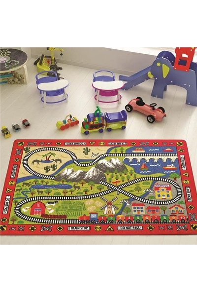 Confetti Railway 133X190 cm Kirmizi Bukle Çocuk Halısı