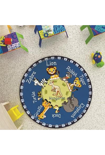 Confetti Animal Planet Çapı 133 cm Mavi Bukle Çocuk Halısı