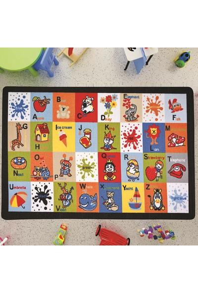 Confetti Letter Blocks Anti-Slip Fb 200x290 cm Mavi Bukle Çocuk Halısı