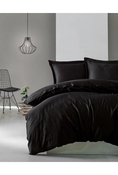 Cotton Box Elegant %100 Pamuk Saten Çift Kişilik Nevresim Takımı Siyah