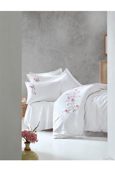 Cotton Box %100 Pamuk Saten 3D Nakışlı Çift Kişilik Nevresim Takımı Perla Beyaz