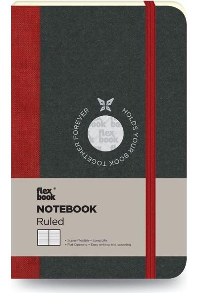 FlexBook 18 Esnek Not Defteri 9x14 cm Kırmızı Şeritli Çizgili