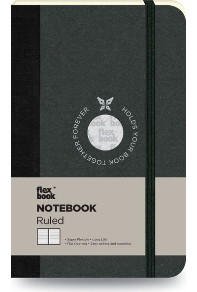 FlexBook 16 Esnek Not Defteri 9x14 cm Siyah Şeritli Çizgili
