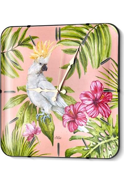 The Mia Duvar Saati - Tropik Parrot 35 Cm