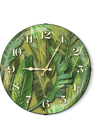 The Mia Duvar Saati - Tropik Banana Palm Yeşil 50 Cm