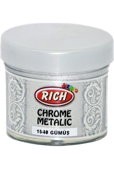 Rich Chrome Metalik Extra Simli Sedefli Boya 1540 - Gümüş 60 cc