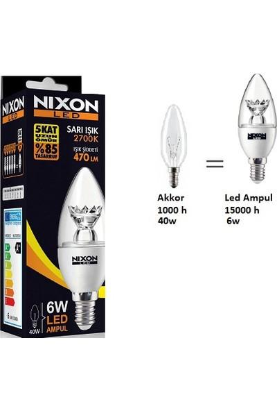 Nixon LED ŞEFFAF MUM AMPUL 6W=(40W) 470LM 2700K E14