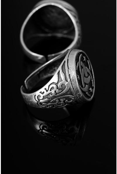 E-Bijuteri Çelik İç İçe Geçmiş 3 Hilal Figür Ayarlamalı Erkek Yüzük