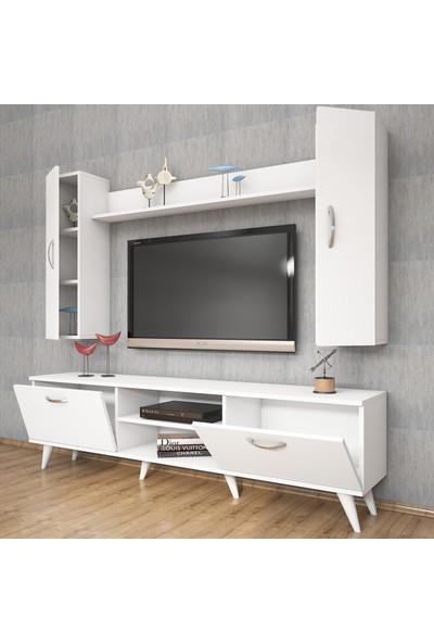Rani A9 Duvar Raflı Tv Ünitesi Kitaplıklı Tv Sehpası Beyaz M2