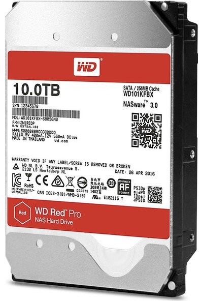"WD Red Pro 3.5"" SATA III 6Gbit/s IntelliPower 10 TB 256MB Cache NAS 7/24"