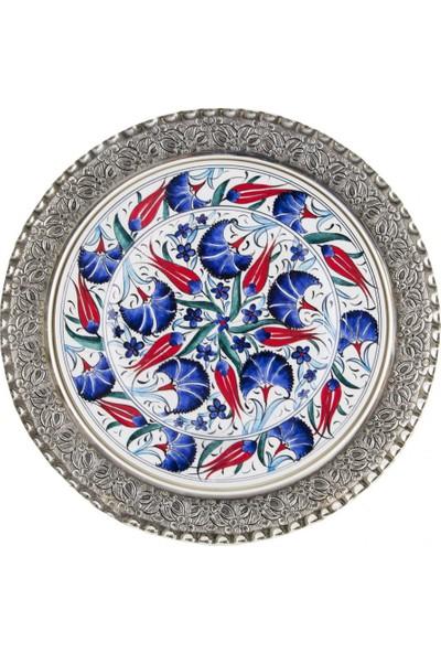 Quartz Ceramics El Yapımı Seramik Gümüş Kaplama Duvar Tabağı