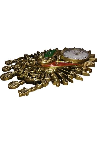 Ahşap Şehri Osmanlı Devlet Arması Duvar Saati