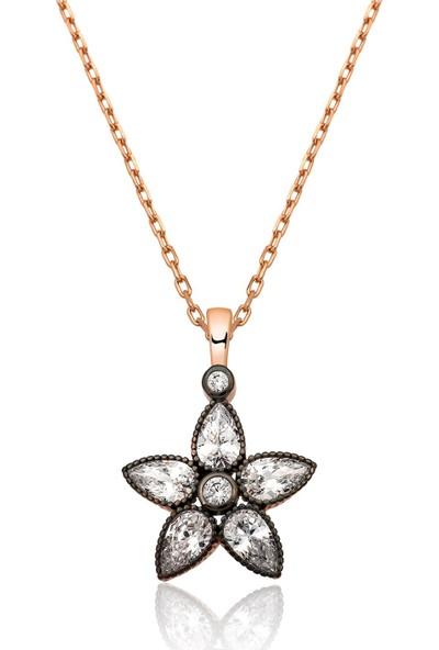 Ervanur Gümüş Elmas Montür Çiçek Kolye