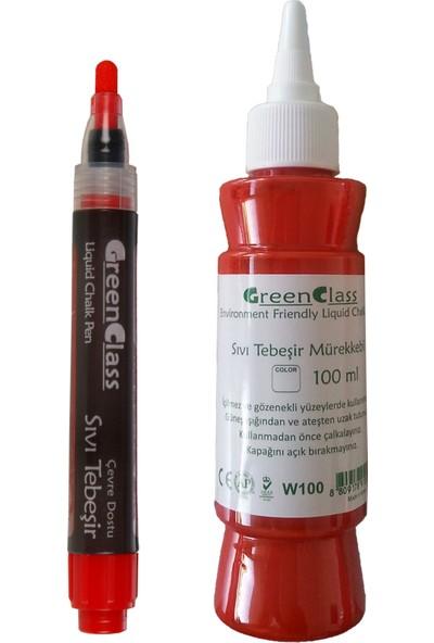 Green Class Sıvı Tebeşir Tahta Kalemi Seti - Kırmızı