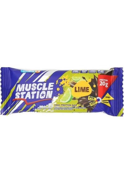Musclestation 65Gr Protein Bar (Whey & Casain) Lime