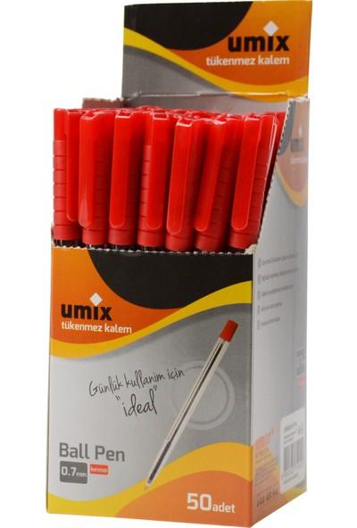 Umix Ball Pen 0.7 Mm 50'Li Kutu - Kırmzı