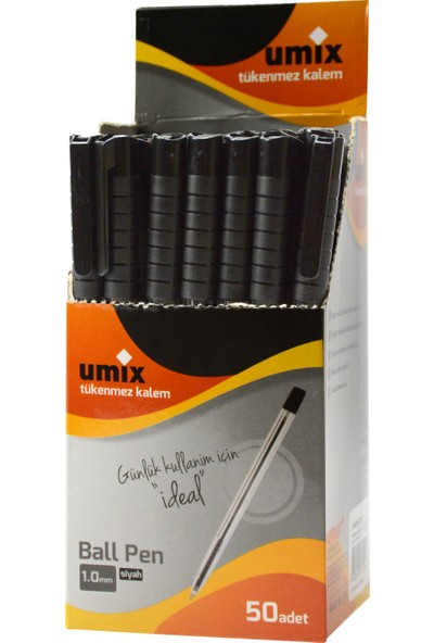 Umix Ball Pen 1.0 Mm 50'Li Kutu - Siyah