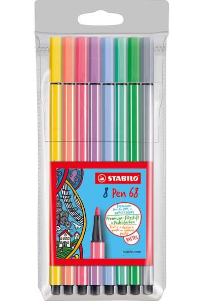 Stabilo Pen Keçeli Kalem 68 8'Li Pastel Paket