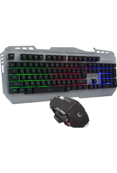 Rampage KM-RX8 Usb Gökkuşağı Zemin Aydınlatmalı Q Standart Klavye + Mouse Set