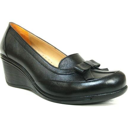 Lucianna Bella 179 Siyah Anatomik Dolgu Topuk Ayakkabı