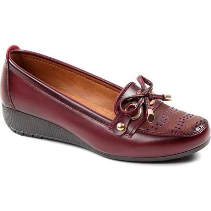 Wanetti 429 Bordo Kadın Babet Ayakkabı