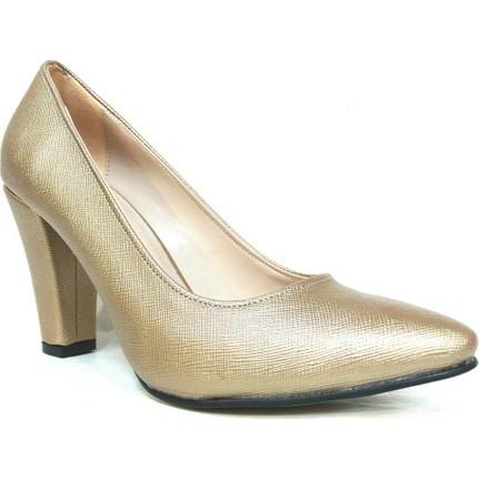 Zenay 1535 Koyu Altın Deri Stiletto Kadın Ayakkabı