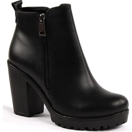 Akça 2532 Siyah Günlük Bayan Cilt Bot Ayakkabı