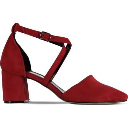 Marjin Radi Topuklu Ayakkabı Kırmızı Süet