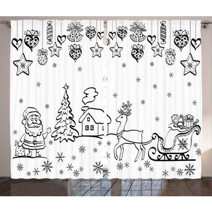 Orange Venue Noel Baba Ve Geyik Arabasi Desenli Fon Perde Fiyati