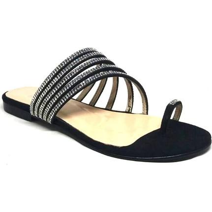 Shop And Shoes 128-2398 Siyah Süet Kadın Terlik