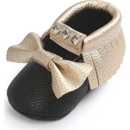 Romirus Bebek Ayakkabı Makosen Zımbalı Beyaz Dore