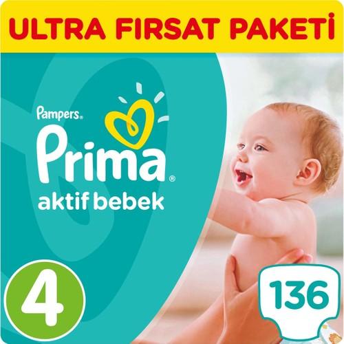Prima Bebek Bezi Aktif Bebek 4 Beden Maxi Ultra Fırsat Paketi 136 Adet