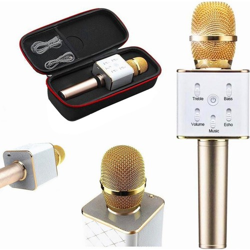 TechnoStyle Karaoke Mikrofon Bluetooth, Speaker Karaoke Mikrofon Q7 Smule Sing Entegre Çalışır