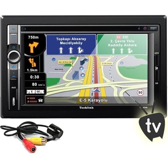 Techlink Te-6500 Navigasyonlu Dvd Tv Usb Sd Double Teyp + Kamera