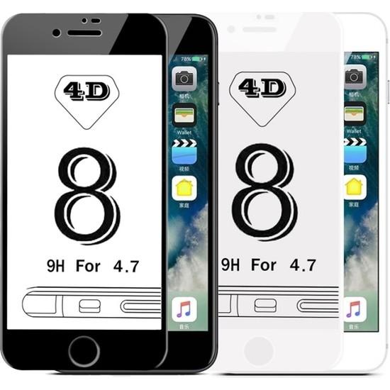 Maimi Apple iPhone 8 4D Temperli Koruma Camı Siyah