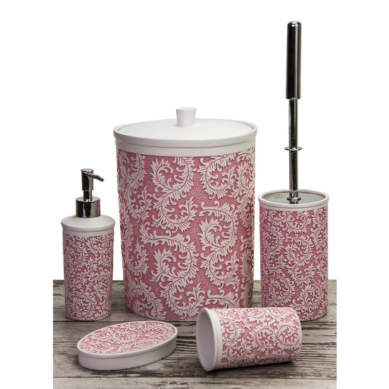 Mukko Home Polyester 5 Parça Banyo Seti / Yaprak Pembe