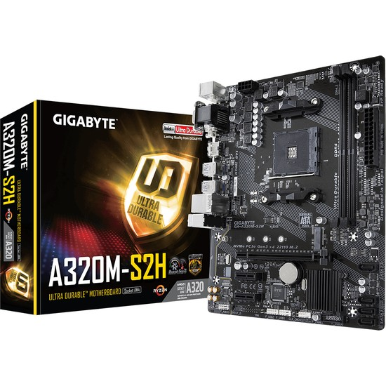 Gigabyte A320M-S2H AMD A320 3200Mhz(OC) DDR4 Socket AM4 PCI-E Anakart