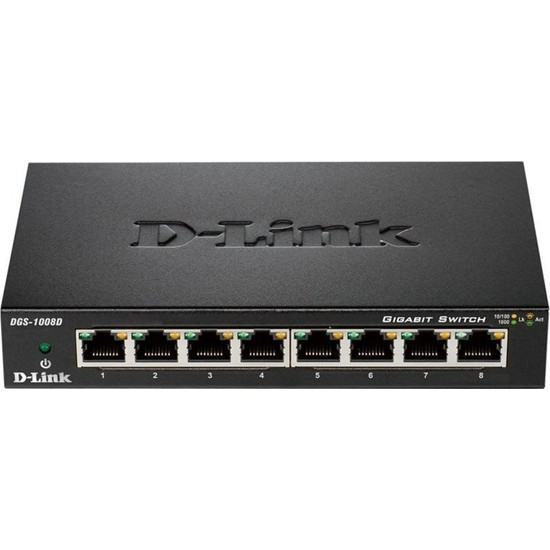D-Link DGS-1008D 8 Port 10/100/1000Mbps Metal Kasa Masaüstü Switch