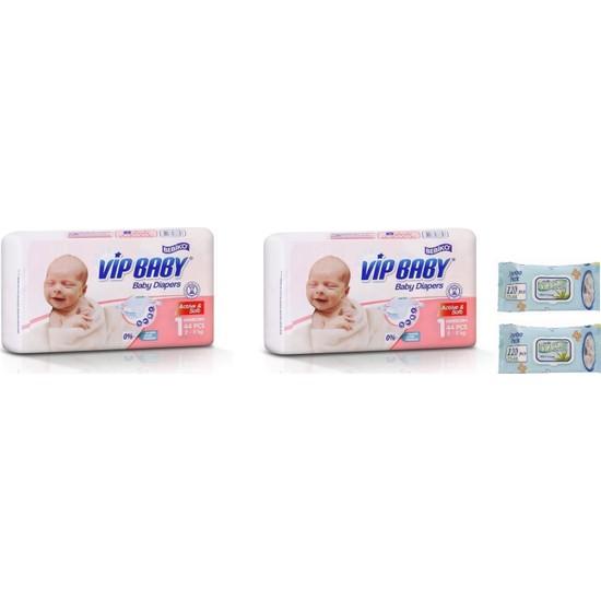 Vip Baby Active&Soft 1 Numara Yenidoğan 88 Adet Bebek Bezi + Islak Mendil